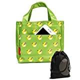 JAVOedge Soft Fabric Green Dog Animal Pattern Rectangle Zipper Lunch Bag with Handle, Pouch and Bonus Drawstring Bag