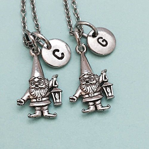 Best friend necklace, gnome charm, garden gnome, bff necklace, sister necklace, friendship jewelry, friends, personalized, initial charm