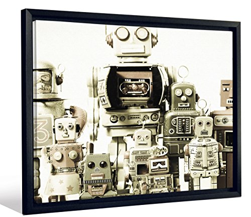 (JP London Framed Kids Robots Toys SciFi Fantasy Gallery Wrap Heavyweight Canvas Art Wall Decor, 20.375