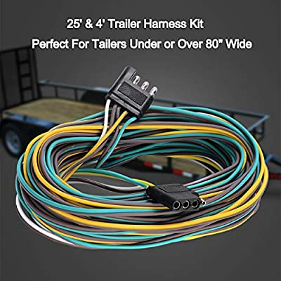 EXERAUO Trailer Wiring Kit 4 Flat Trailer Wiring Harness Extension Connector 25ft & 4ft Wishbond Trailer Light Kit 4 Wire Plug Connector for Utility Trailer Lights: Automotive