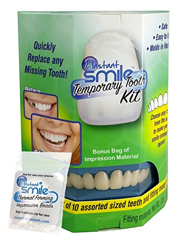 Instant Smile Temporary Tooth Kit and Bonus Bag of Impression Material - Natural Color - Does Not Stain and PATENTED!!