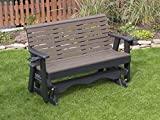 5FT-WEATHERED WOOD-POLY LUMBER ROLL BACK Porch GLIDER with Cupholder arms Heavy Duty EVERLASTING PolyTuf HDPE – MADE IN USA – AMISH CRAFTED