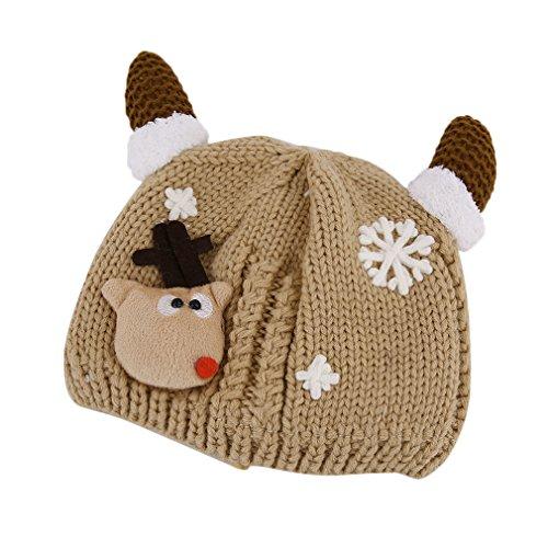 de Sombrero Color Hat de Plus Beige bebé de lindos Gugutogo Navidad Horns dibujos punto ganchillo Velvet rosa animados de rojo Sombreros ganchillo SZUIwWqc0W