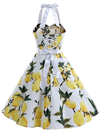 Dos up de Robe Halter 50's Pois 'Audrey Polka Bal Blanc Lemon Nu 60's pin Vintage Rockabilly Hepburn' Dressystar qUYwxOq