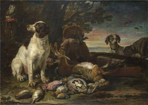 The Perfect Effect Canvas Of Oil Painting 'David De Coninck - Dead Birds And Game With Gun Dogs And A Little Owl,about 1672-94' ,size: 10x14 Inch / 25x36 Cm ,this Cheap But High Quality Art Decorative Art Decorative Prints On Canvas Is Fit For Home Office Decor And Home Decor And Gifts