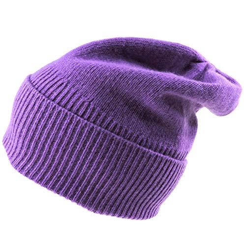 Portolano⚜ Women's Purple 100% Cashmere Winter HAT - Portolano Cashmere