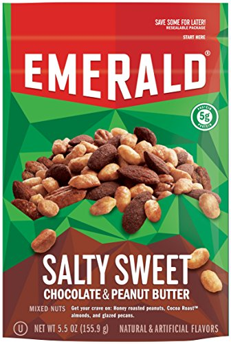 Emerald Salty Sweet Chocolate Peanut Butter Mixed Nuts, Stand Up Resealable Bag, 5.5 Ounce