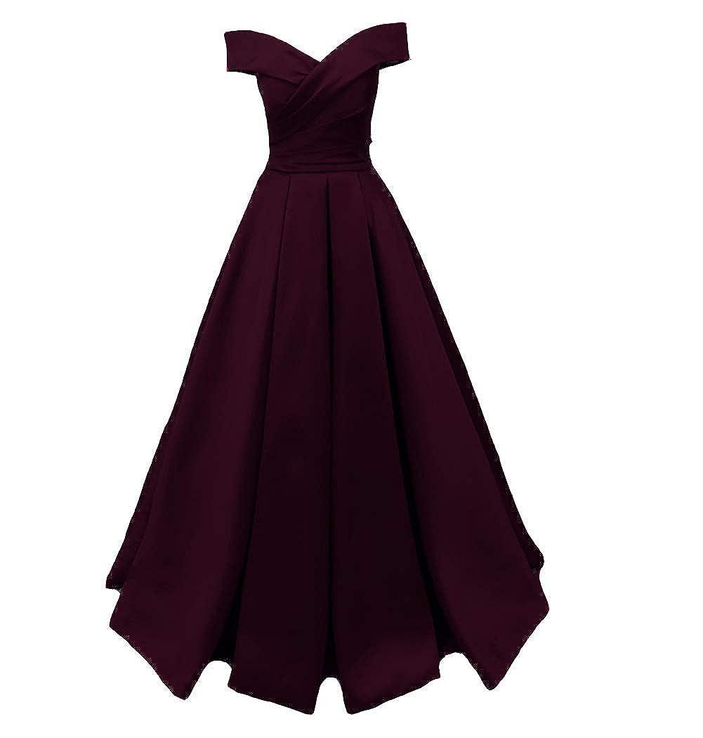 Dark Plum Kivary Long Off The Shoulder Satin V Neck Formal Corset Prom Dress Evening Gown