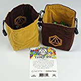 Third Die Dice Bag - Handcrafted And Reversible Drawstring Bag That Stands Open On The Table - For All Your Gaming Needs - Brown and Gold