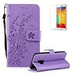 Funyye Strap Magnetic Flip Cover for Samsung Galaxy S9,Light Purple Elegant Plum Blossom Print Pattern Folio Wallet Case with Stand Credit Card Soft PU Leather Case for Samsung Galaxy S9,Shockproof Non Slip Full Body Protective Case for Samsung Galaxy S9 + 1 x Free Screen Protector