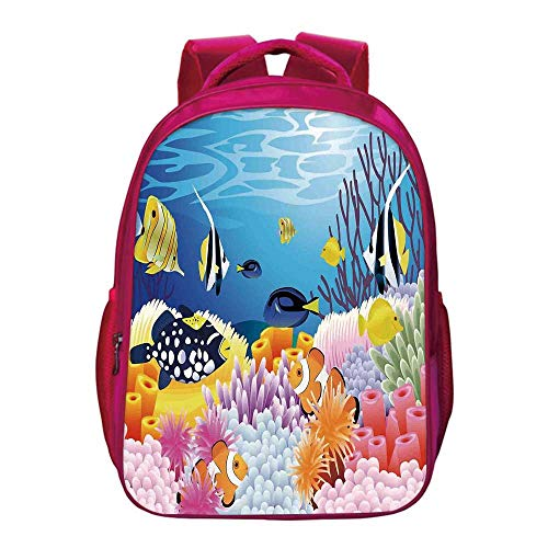 Ocean Decor Printing Backpack,Water Life with Different Kind of Fishes Coral Reefs and Sponges Kids Nursery Theme for Kids Girls,11.8