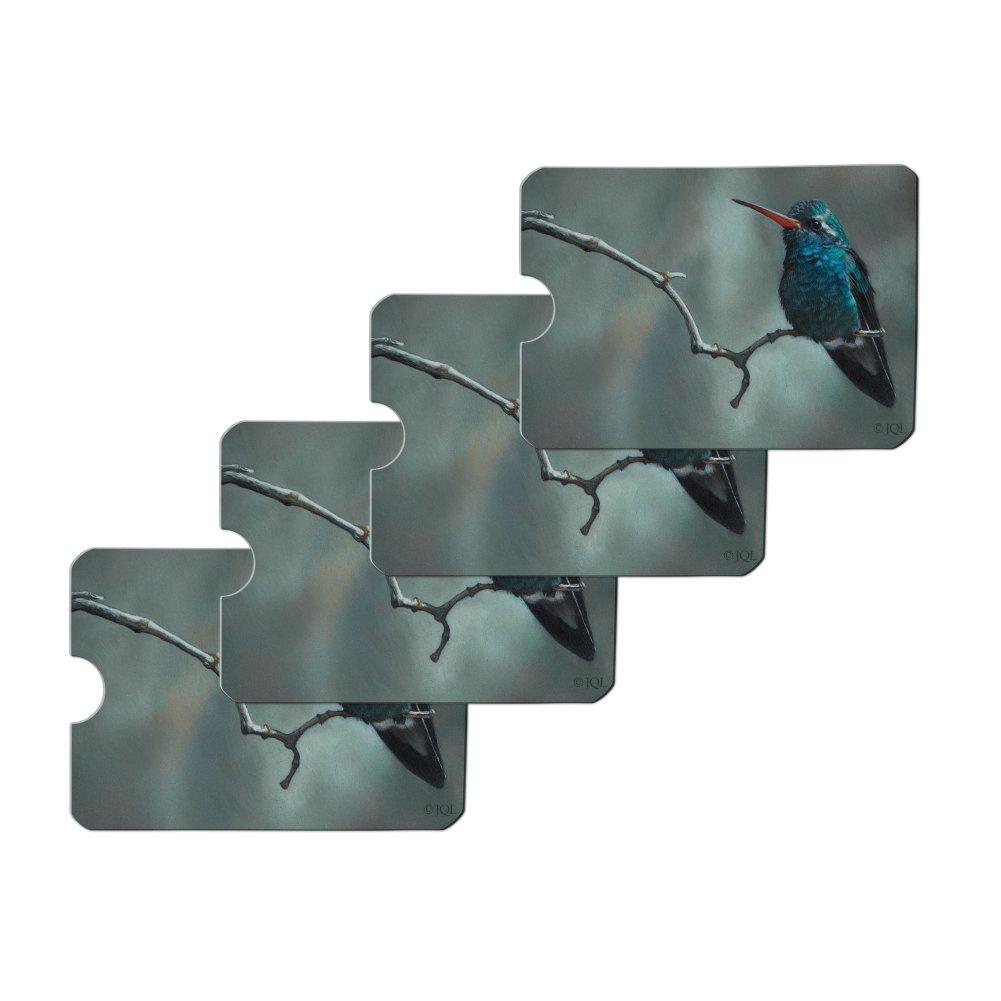 Broad-Billed Hummingbird Resting on Branch Credit Card RFID Blocker Holder Protector Wallet Purse Sleeves Set of 4