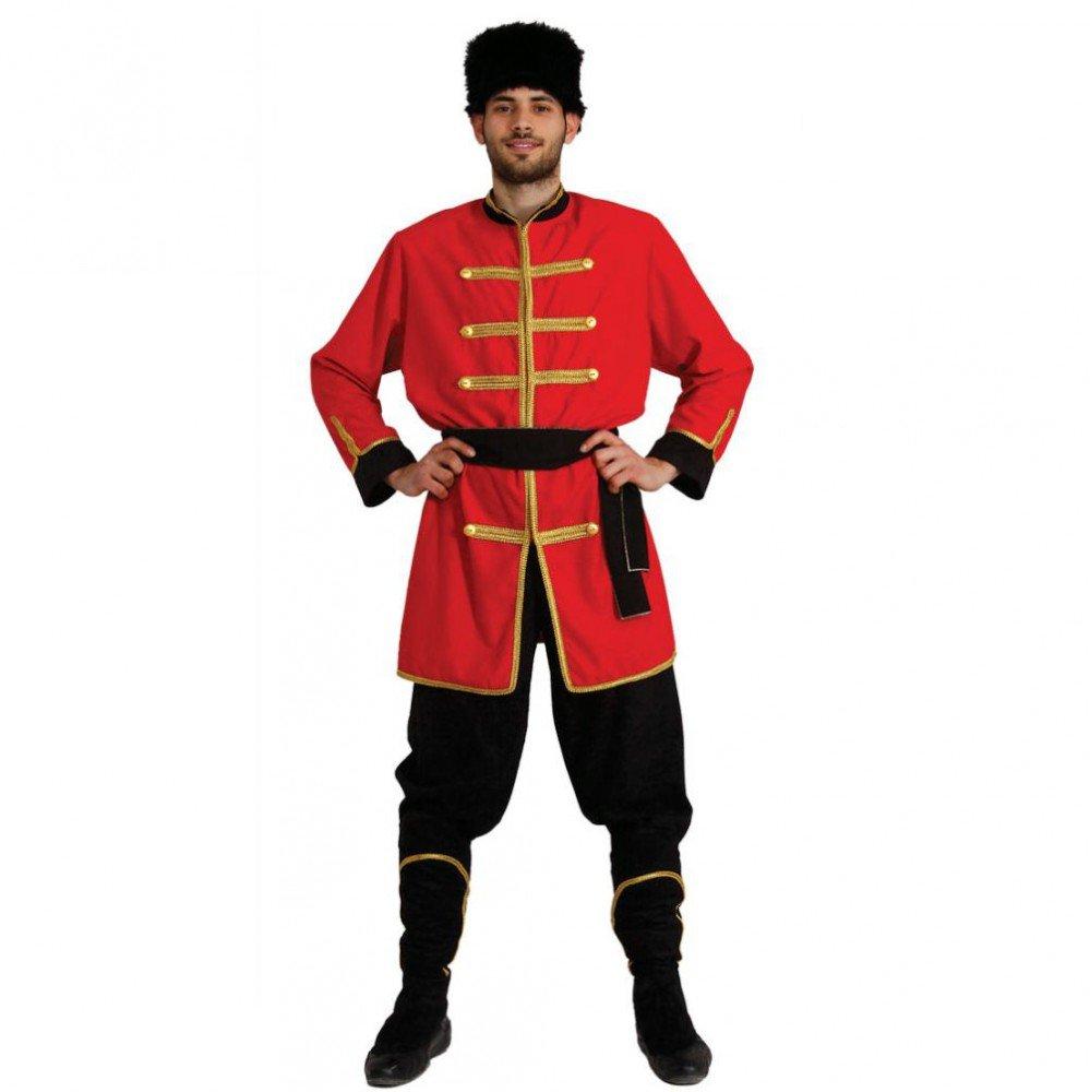 Cappotto da Uomo Costume cosacco Militare Ucraina Russia Rosso Nero (M)