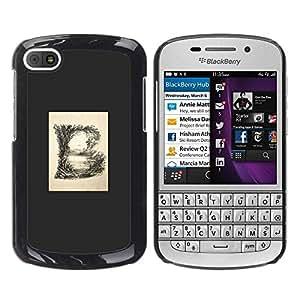 TopCaseStore / la caja del caucho duro de la cubierta de protección de la piel - Grey Poster Initial Minimalist - BlackBerry Q10