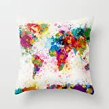 The watercolor throw cushion covers of ,20 x 20 inches / 50 by 50 cm decoration,gift for teens girls,chair,bar,gril friend,adults,sofa (twice sides)