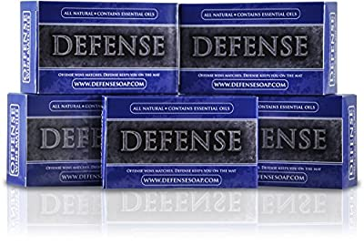 Defense Soap Antifungal 4 Ounce Bar (Pack of 5) - 100% Natural Pharmaceutical Grade Antibacterial Tea Tree Oil and Eucalyptus Oil Helps Wash Away Ringworm, Jock Itch, Acne, Psoriasis, Yeast, and Athlete's Foot