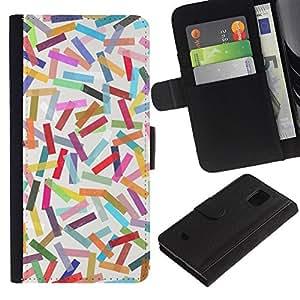 LASTONE PHONE CASE / Lujo Billetera de Cuero Caso del tirón Titular de la tarjeta Flip Carcasa Funda para Samsung Galaxy S5 Mini, SM-G800, NOT S5 REGULAR! / Abstract Colorful Pastel Lines Pattern