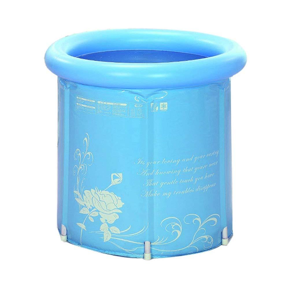Wansheng Erwachsene Tragbare Faltende Badewanne Super-Thick PVC Zylindrische Aufblasbare Plastikbadewanne Plastikbad Barrelwith Kissen (Blau)