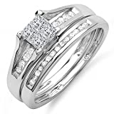0.50 Carat (ctw) 10k White Gold Princess & Round Diamond Ladies Bridal Engagement Ring Set Matching Band 1/2 CT (Size 9)