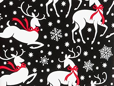 Reindeer and Snowflakes Christmas Holiday Gift Wrap Paper - 16 Foot Roll