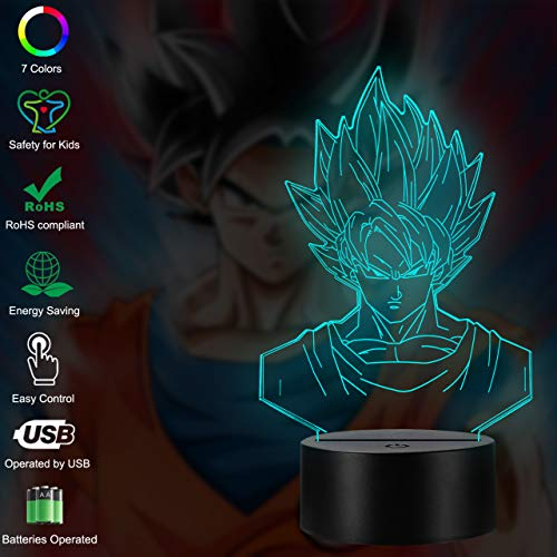 Dragon Ball Z Goku Saiya Cartoon Figures Acrylic 3D Night Lights USB LED Table Lamp Touch Control Home 3D Arts Lamp Multicolor 7 Color Changing Bedroom Decor Child Gifts (Dragon Ball Z Touch) (Party Lincoln Supplies)