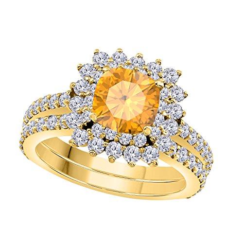(Gems and Jewels 1.50 Ct Cushion & Round Cut Yellow Citrine & White CZ Diamond 14k Yellow Gold Plated Starburst Design Wedding Engagement Halo Ring Bridal Set)