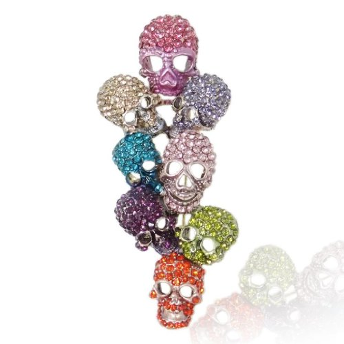 Crystal Skull Hat - EVER FAITH Austrian Crystal Halloween Gorgeous 8 Skeleton Head Cluster Brooch Multicolor Gold-Tone