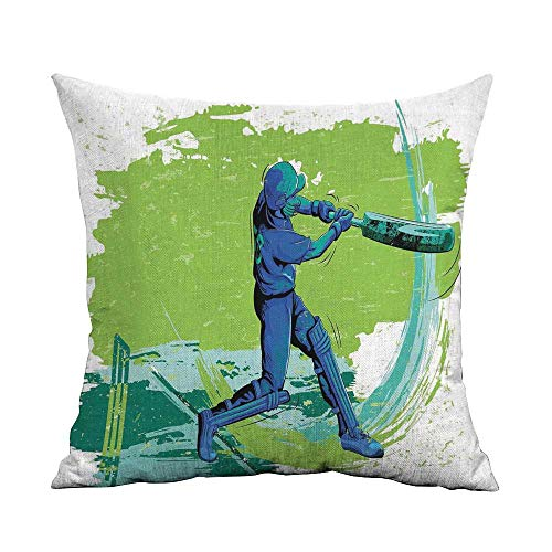 (warmfamily Personalized Pillowcase Sports Cricket Player Pitching Win Game Champion Team Paintbrush Effect Machine Washable W16 xL16 Navy Blue Turquoise Lime Green)
