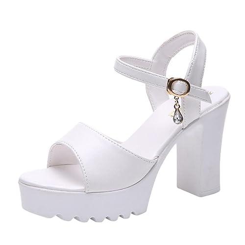 697af79cf48e Sandali Estivi Donna, Donne Pantofole Scarpe Open Toe Stile bohemie con Tacco  Alto Estivi Sandali
