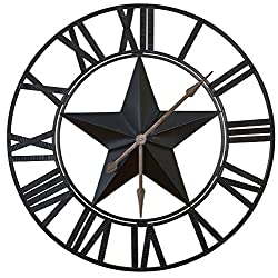 3 Ft Extra Large Wall Clock with a Black Star Design