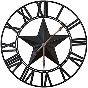 Amazon Com 3 Ft Extra Large Wall Clock With A Black Star