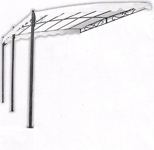 Salón Tienda On Line-Cenador Con Pared Pergola Menorca 400 X 300 X 200/250H Acero Antracita y Pajarita: Amazon.es: Hogar