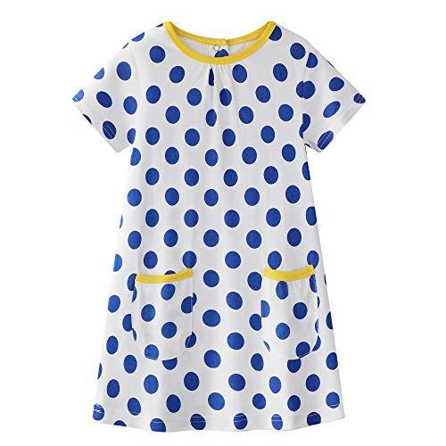 Baby Girls Cotton Dress Summer Short Sleeves Dress Dot Print Skirt Size 5 ()