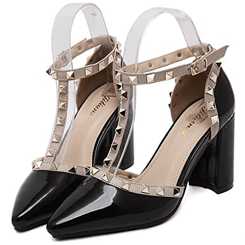 Azbro Mujer Zapatos de Tacón Fornido Remache T-correa con Puntera Punta Blanco