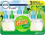 Plug in Air Freshener and Odor Eliminator, Scented Oil Refill, Gain Original Scent, 1 Set (Gain 3 Count Refill)