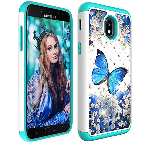 Cover Crown Rhinestones - Galaxy J7 2018 Case with Screen Protector,Galaxy J7 Star/J7 Aura/J7 Aero/J7 Top/J7 Crown Glitter Sparkle Bling Studded Rhinestone Crystal Hybrid Dual Layer Armor Case Blue Floral Butterly Flowers