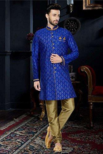 itsindiancrafty Mens Kurta Pajama Wedding Printed Art Dupion Royal Blue Printed India