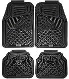 xc70 black car mats - Johns FMS-24 (4pc Set) Black All-Weather Rubber Floor Mats