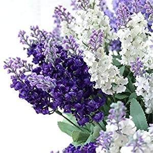 Wootkey 12 Pack Artificial Flower Mixed Color Lavender 4 Bundle Arrangement for Wedding Bouquet Silk Fake Faux Flowers with Greenery Leaves Stems Table Centerpiece Ideas DIY Home Decor Party 3