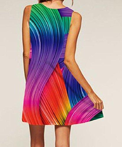 Tunic Women Sun Sleeveless Coolred Dress Print colorful Crewneck Vest As1 Retro 0dpgpqw