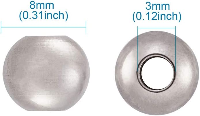 Kissitty 100-Piece Stainless Steel Silver Tone Round Smooth Seamless Spacer Solid Beads 8mm for DIY Jewelry Making
