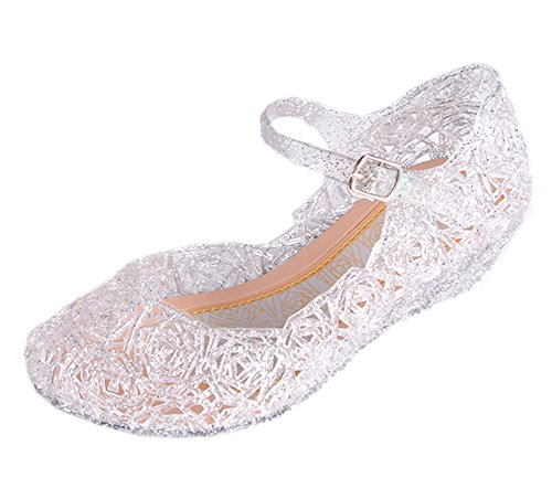 Cinderella Baby Girls Soft Crystal Plastic Shoes Children's Princess Shoes(Toddler/Little Kid) White -