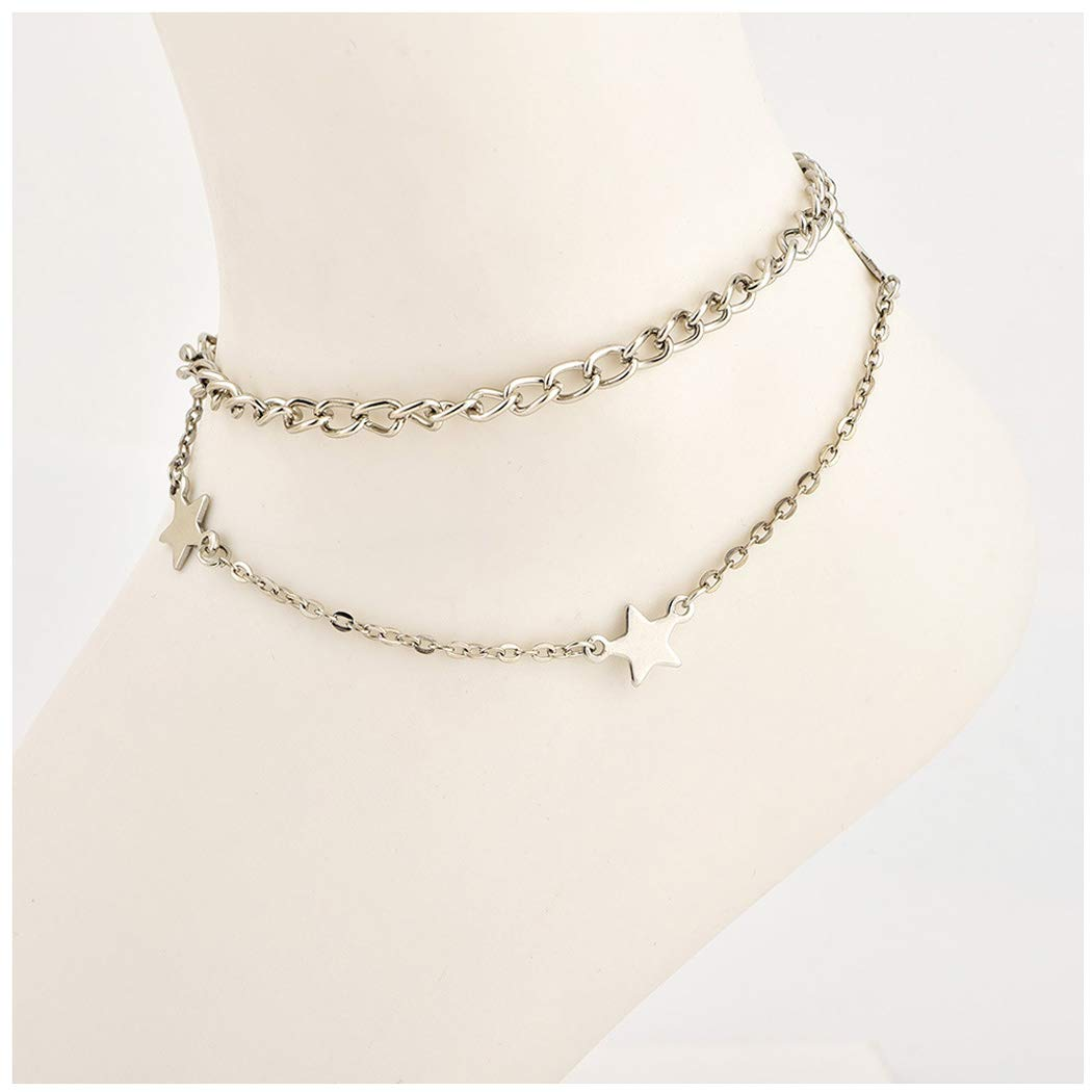 Women Star Anklet Bracelet Fashion Beach Barefoot Chain Jewelry for Girls and Ladies