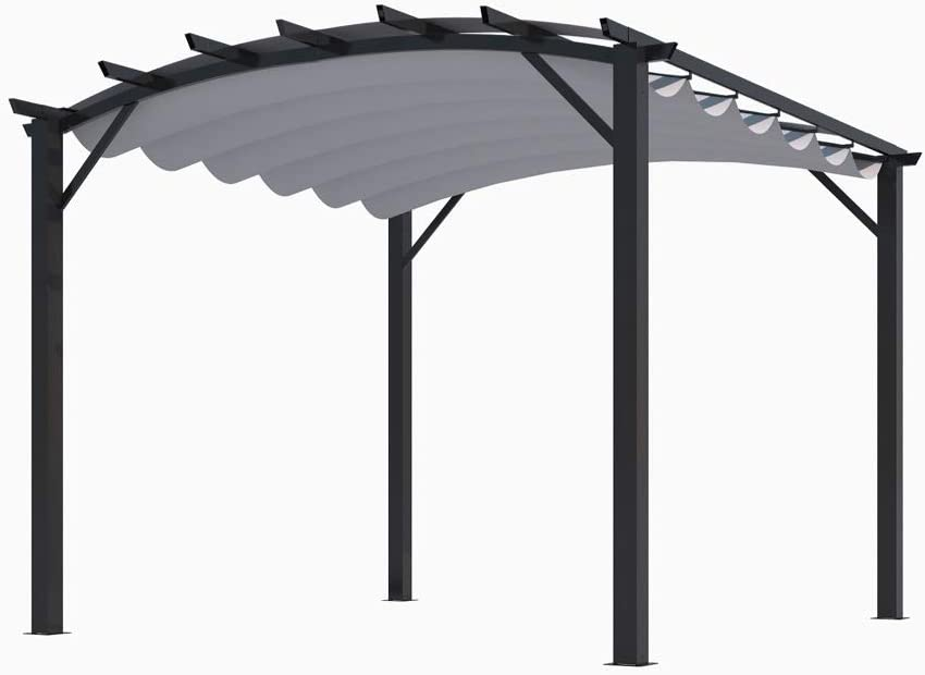 HABRITA - Pérgola Estructura Mixta 11, 22 m2 - Tela Gruesa Gris ...