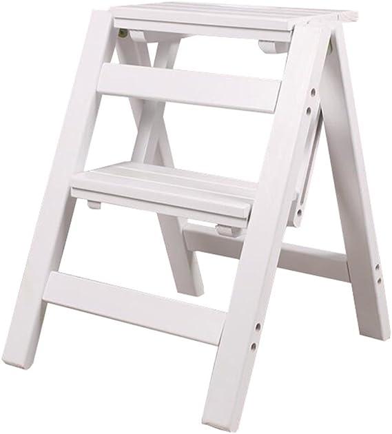 LAXF- Sillas Escalera Plegable Madera Taburete Multifuncional de Dos Capas de Madera Maciza Muebles para Adultos para la Cocina Dormitorio de la Sala de Estar Cuarto de baño (Color : #2): Amazon.es: