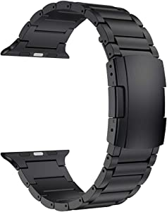 LDFAS Compatible for Apple Watch Band 44mm 42mm, Titanium Metal Watch Strap with Double Button Clasp for iWatch Bands Compatible for Apple Watch SE, Apple Watch Series 6/5/4/3, Black