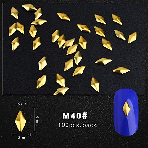 (Kamas 100Pcs/Pack Gold Nail Art Decorations 3D Metal Nails Studs Trinket Heart Triangle Round Horse eye Manicure Accessories Tools - (Color: M40))