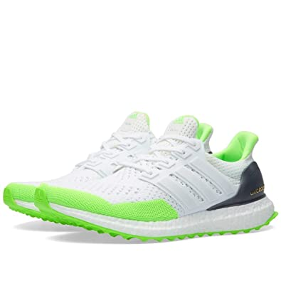 3d6e5f3c18521 adidas Size 7.5 Men s Ultra Boost KOLOR White Lime Green S77419 Athletic  Sneakers
