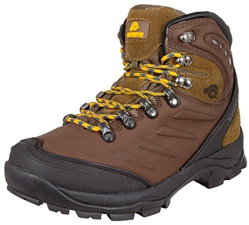 GUGGEN MOUNTAIN Herren Wanderschuhe Bergschuhe wasserdicht Outdoor-Schuhe Walkingschuhe M013, Farbe Braun, EU 43