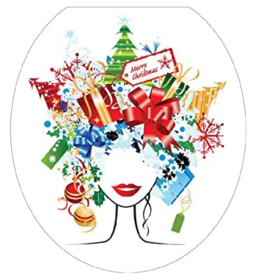 Toilet Tattoos Christmas Lady Decorative Applique For Toilet Lid
